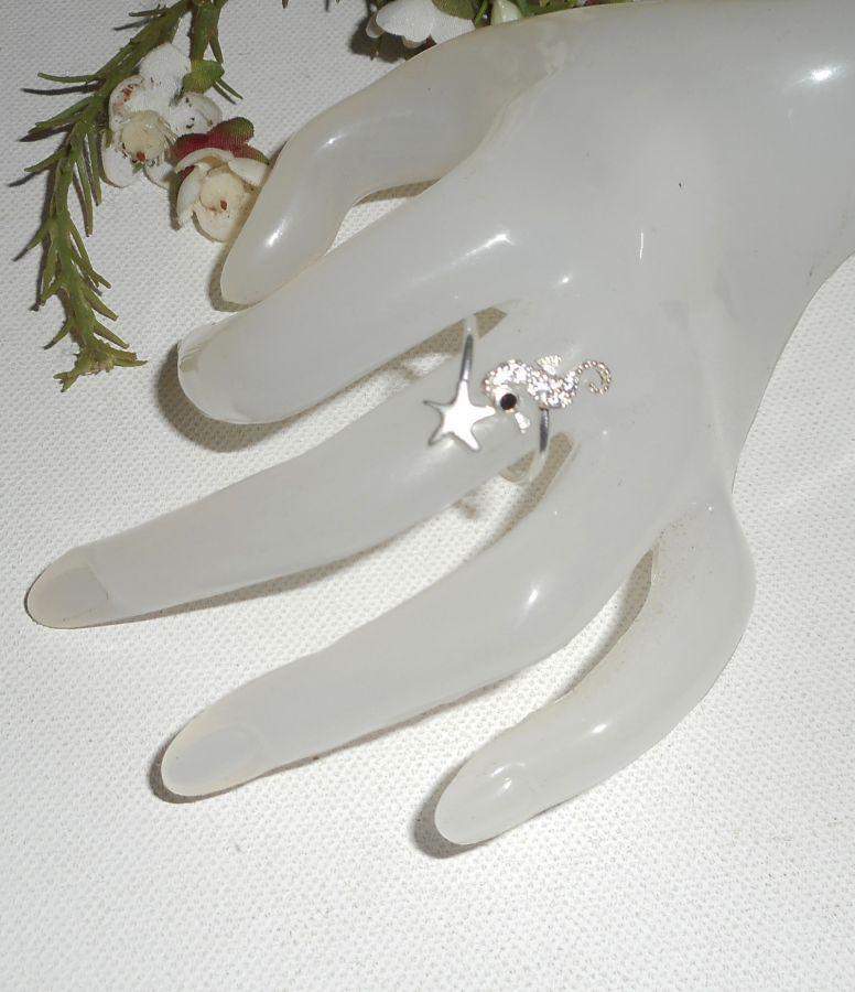 Bague originale en argent 925 avec étoile de mer en argent hippocampe en cristal