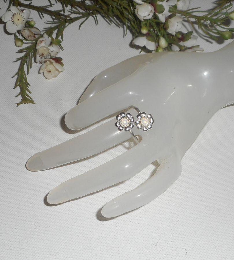 Bague originale en argent 925 avec fleurs et et cristal de Swarovski blanc