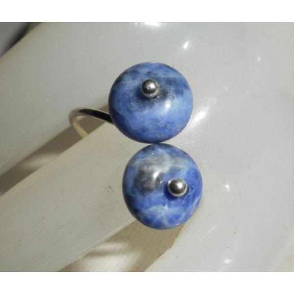Bague originale en argent 925 avec fleurs et pierres de sodalite bleu