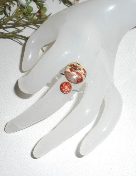 Bague originale en argent 925 avec pierre de jaspe et agate marron