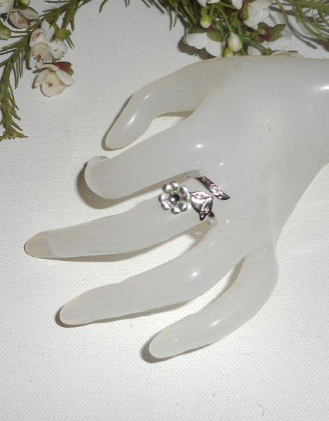 Bague originale en argent 925 fleurs et cristal de Swarovski blanc avec renard