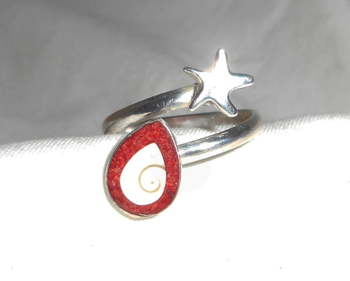 Bague originale en argent 925 avec étoile de mer et oeil de Ste Lucie