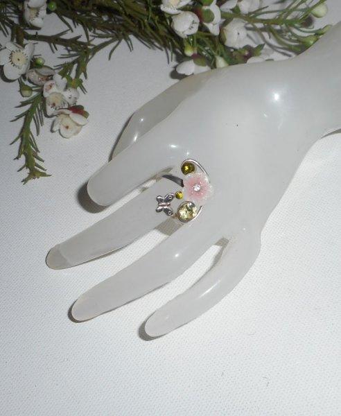 Bague originale en argent 925 avec fleur rose et cristal de Swarovski