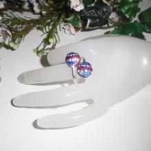 Bague originale en argent 925 avec perles en cristal bleu blanc rouge