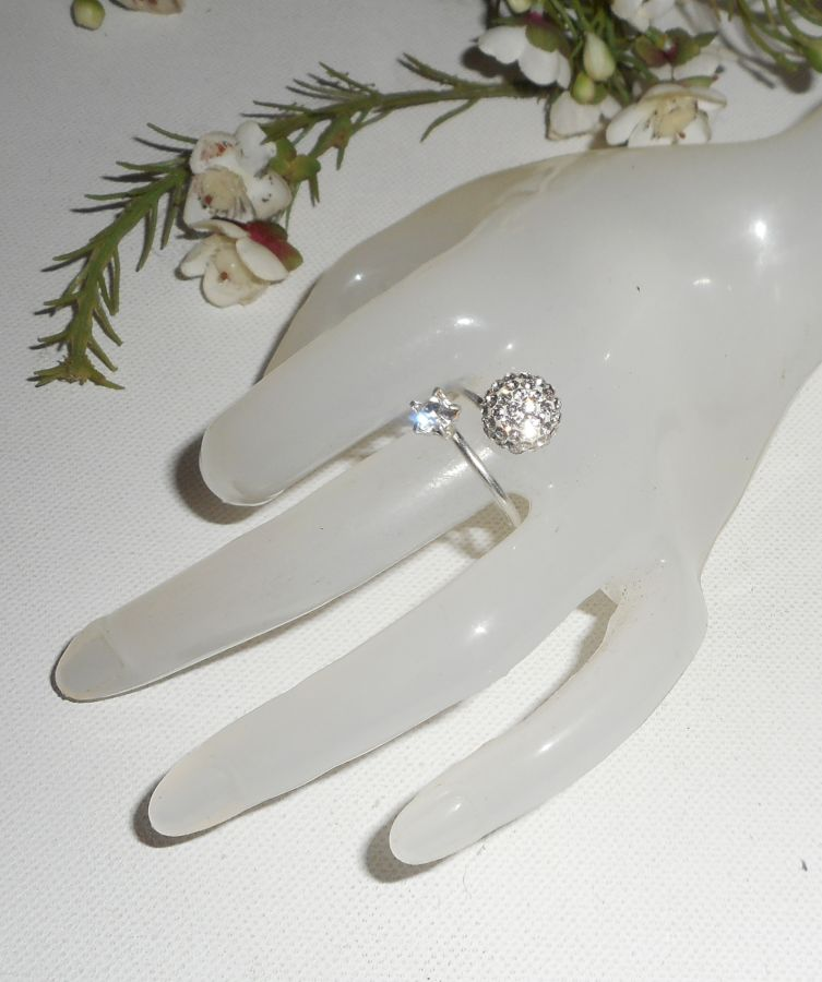Bague originale double cristal de Swarovski en argent 925