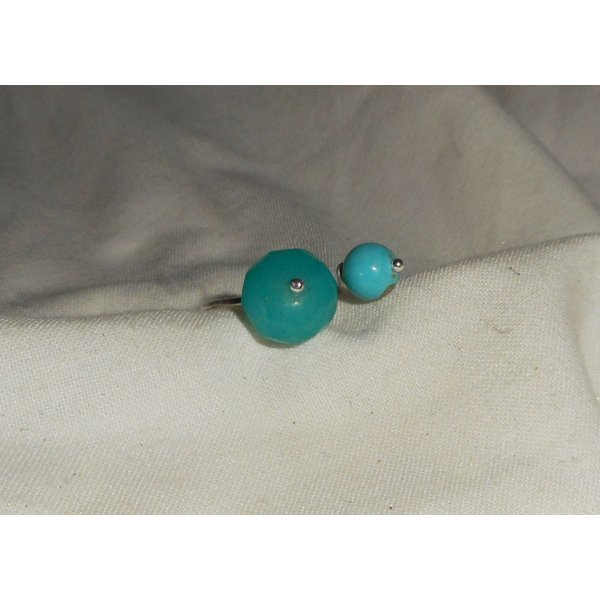 Bague originale double pierres bleues en jade et turquenite et argent 925