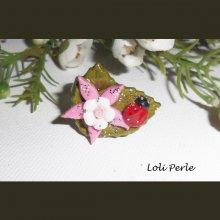 Bague originale fleur de lotus rose avec coccinelle