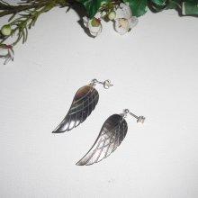 Boucles d'oreilles ailes en nacre sur clous en argent 925