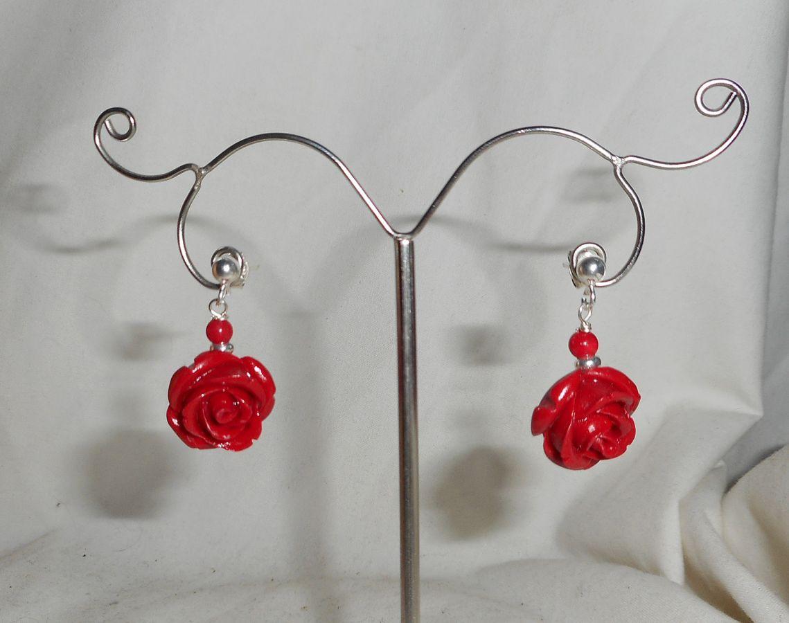 Boucles d'oreilles argent 925 avec roses rouges