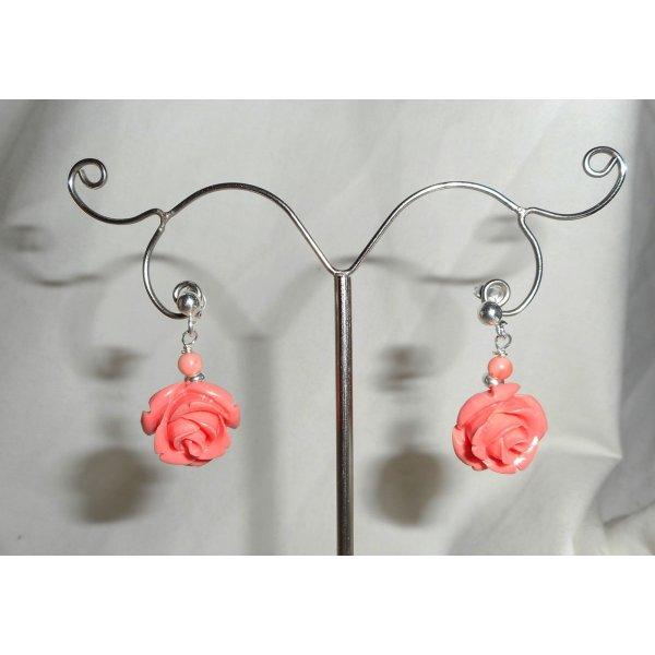 Boucles d'oreilles argent 925 avec rose saumon
