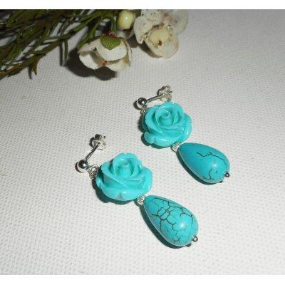 Boucles d'oreilles argent 925 avec rose bleu et gouttes en pierre de howlite