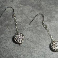 Boucles d'oreilles en argent 925 avec chaine et perles en cristal de Swarovski