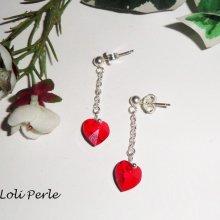 Boucles d'oreilles argent 925 chaine avec coeur en Swarovski rouge