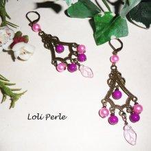 Boucles d'oreilles bronze pampilles avec perles de verre rose