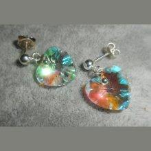 Boucles d'oreilles coeur blanc AB en cristal de Swarovski sur clous argent 925