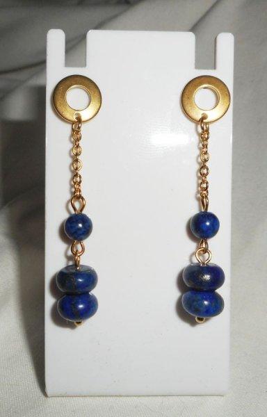 Boucles d'oreilles lapis lazuli et perle en verre de Murano bleu sur acier inox