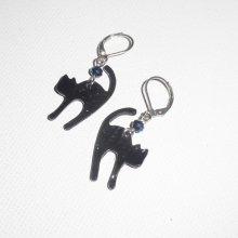 Boucles d'oreilles motif chat en métal noir  avec perle en cristal bleu