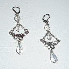 Boucles d'oreilles motif floral avec perles en cristal de bohème  sur dormeuses argent