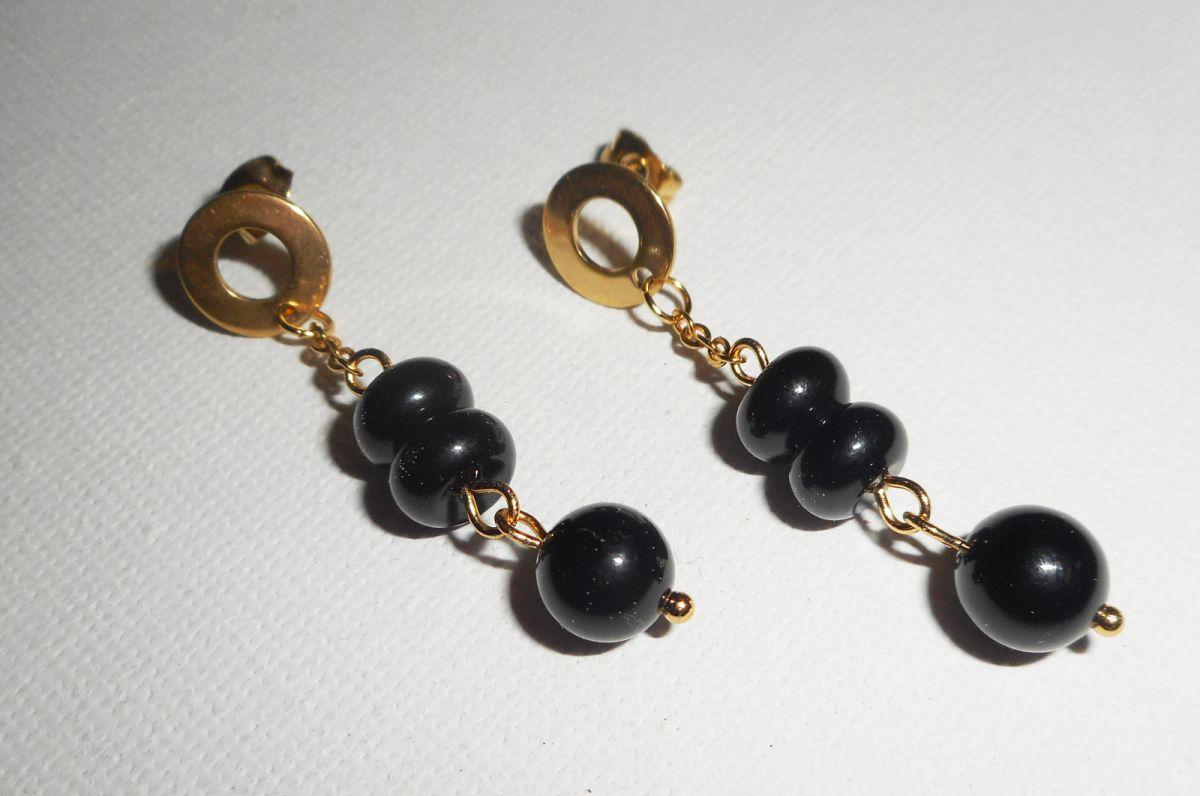 Boucles d'oreilles pierres d'onyx sur chaine or acier inoxydable