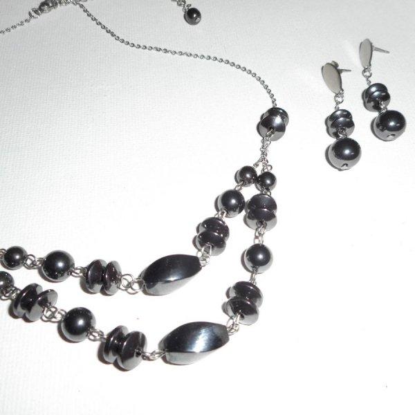 Boucles d'oreilles pierresen hématite sur acier inoxydable