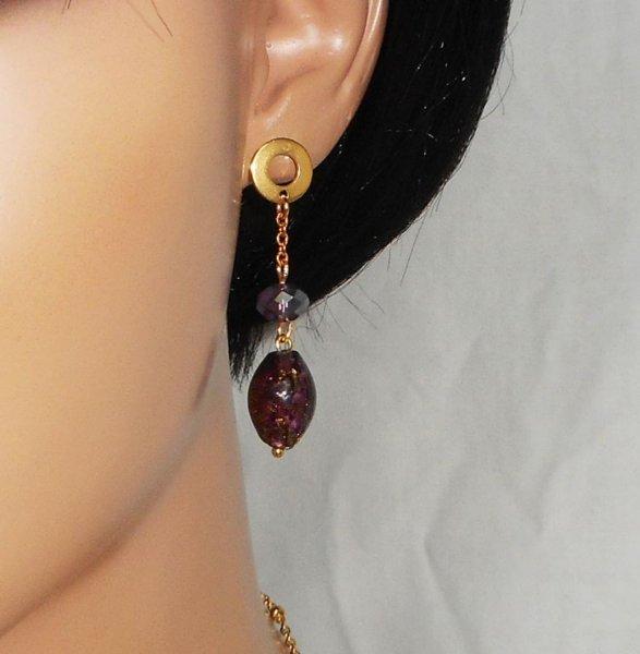 Boucles d'oreilles en verre de Murano et cristal violet