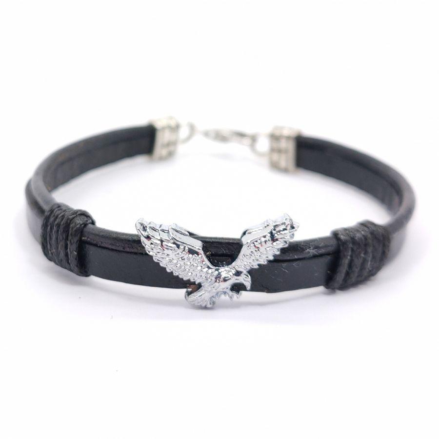 Bracelet aigle sur cordon de cuir