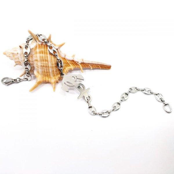 Bracelet ancre sur chaine grain de café en acier