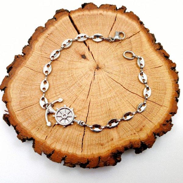 Bracelet ancre et gouvernail sur chaine grain de café en acier