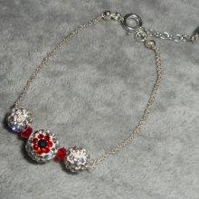 Bracelet en argent 925 perles en cristal de Swarovski avec motif fleur rouge