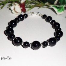 Bracelet en argent 925 avec pierres d'onyx noir