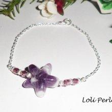 Bracelet en argent 925 avec étoile en  améthyste violette