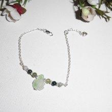 Bracelet en argent 925 avec tortue et perles en jade sur chaine