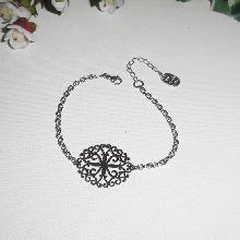 Bracelet chaine argent avec estampe en filigrane en acier inox taille réglable