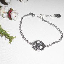 Bracelet chaine argent avec médaille de cheval