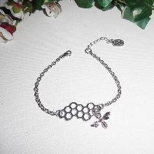 Bracelet chaine argent avec nid d'abeille et son abeille taille réglable