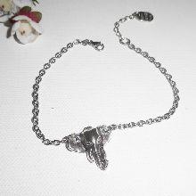 Bracelet chaine argent avec tête d'éléphant taille réglable