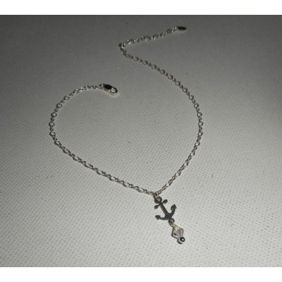 Bracelet/chaine de cheville avec ancre et toupie en cristal sur chaine argent 925