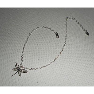 Bracelet/chaine de cheville avec libellule sur chaine argent 925
