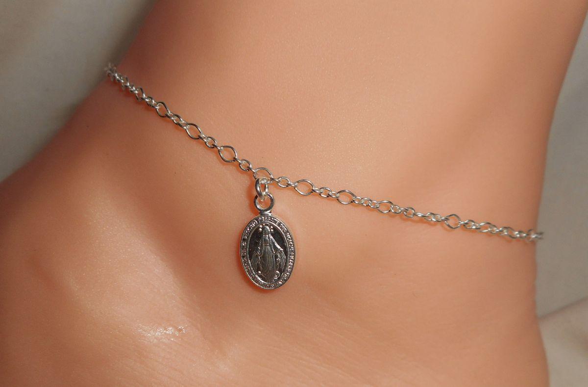 Bracelet/chaine de cheville avec médaille de la vierge sur chaine argent 925