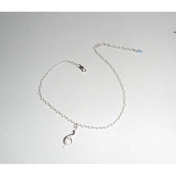 Bracelet/chaine de cheville avec note de musique sur chaine argent 925