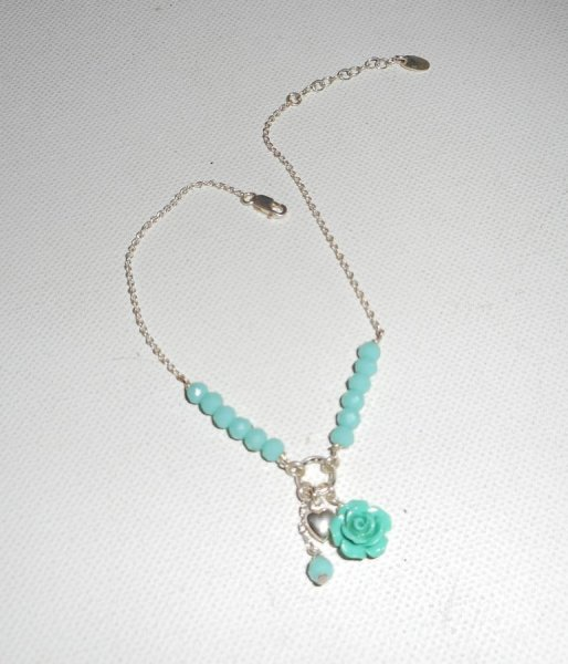 Bracelet/chaine de cheville originale en argent 925 avec perles en cristal et rose verte