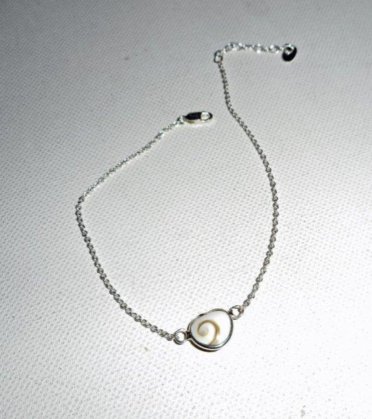 Bracelet/chaine de cheville originale en argent 925 avec coeur en oeil de Ste Lucie
