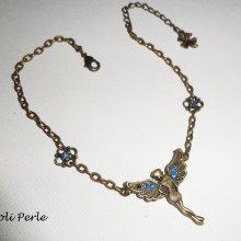 Bracelet/chaine de cheville originale avec fée et cristal bleu sur chaine bronze