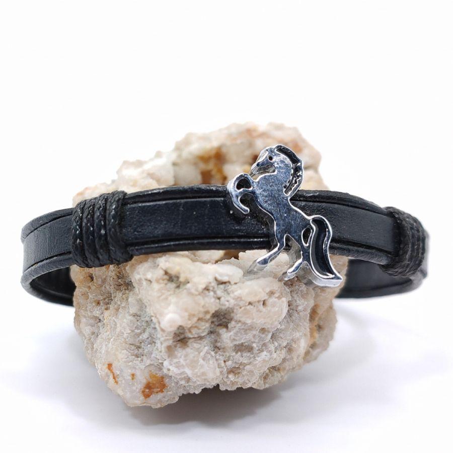 Bracelet cheval sur cordon de cuir