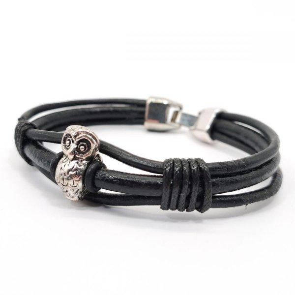 Bracelet chouette sur cordon de cuir noir