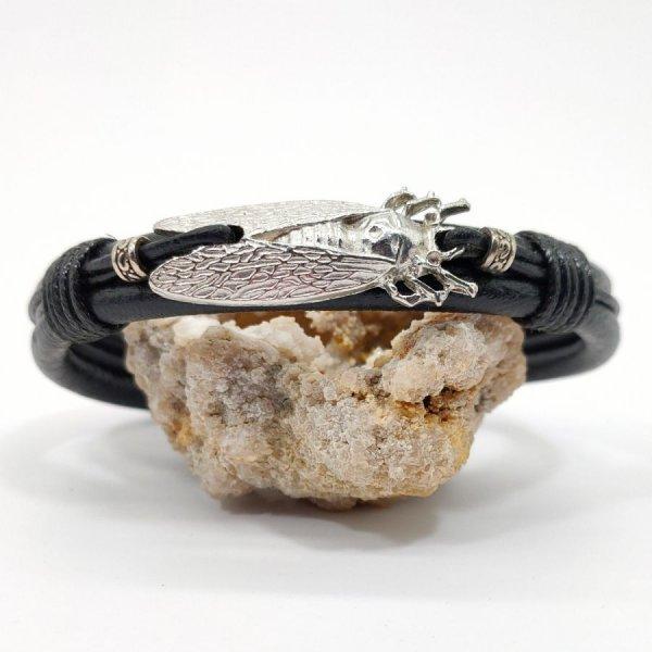 Bracelet cigale sur cordon de cuir noir