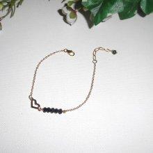 Bracelet coeur avec perles en cristal de bohème noir sur chaine plaqué or