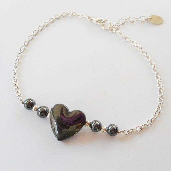 Bracelet coeur en pierre d'hématite sur chaine argent 925