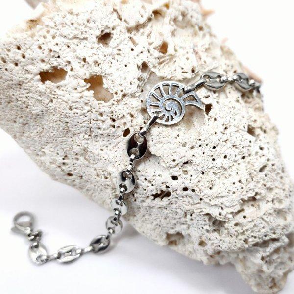Bracelet coquillage sur chaine grain de café en acier