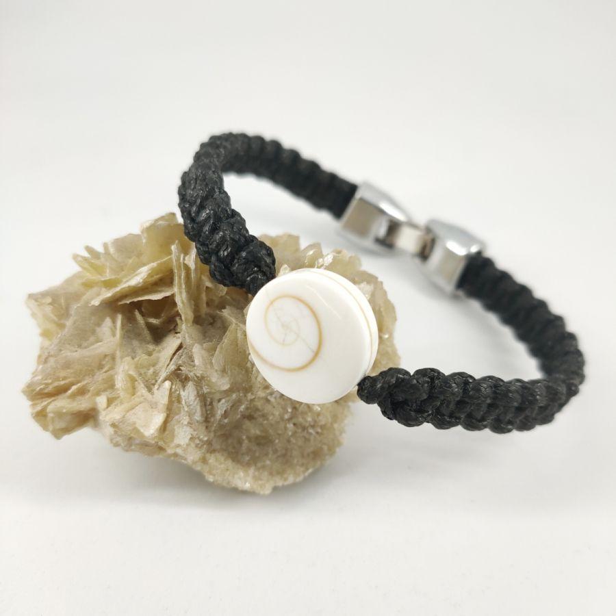 Bracelet corde tissée avec oeil de Ste Lucie porte bonheur